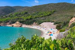 View of the beautiful wild beach on Elba Island and the blue lagoon. Elba island, Italy royalty free stock photography