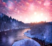 View of a beautiful winter landscape.  Royalty Free Stock Photography