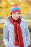 A view of a beautiful young woman in park royalty free stock image