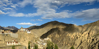 View on the beautifully located Buddhist monastery in the Lamayuru village in the background one can see the mountains Ladakh Royalty Free Stock Photography