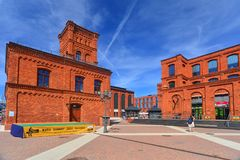 Restored old electric plant on factory area in Lodz, Poland Royalty Free Stock Image