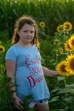 Beauty joyful young girl with sunflower enjoying nature and laughing on summer sunflower field. Sunflare, sunbeams, glow. View of Beauty joyful young girl with royalty free stock photography