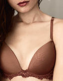 View on the beauty woman breast in brassiere Stock Image