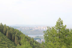 View from beaver log on campus. Krasnoyarsk Royalty Free Stock Images