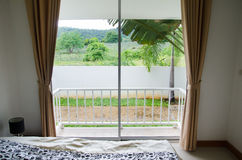 View of bedroom. Bedroom of mountain view Royalty Free Stock Images