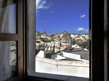 View from bedroom over Goreme Village Royalty Free Stock Photo