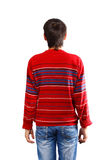 View from behind. Man in red pullover standing back isolated on white background Royalty Free Stock Image