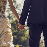 View from behind of newlywed couple holding hands Royalty Free Stock Photography
