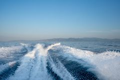 View behind the speed boat stock photography