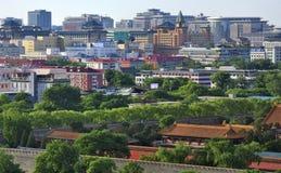 View of Beijing,Forbidden city ,Morden building Stock Photos