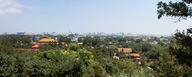 View of Beijing Skyline. Modern Beijing skyline from Jingshan Hill (Prospect Hill) in Jingshan Park Royalty Free Stock Photos