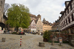 View of Beim Tiergartnertor square in Nuremberg Stock Image