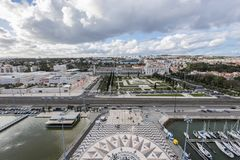 View of the Belem district from the top of the monument to the discoveries in Lisbon stock images