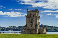 View at the Belem tower at the bank of Tejo River in Lisbon royalty free stock image