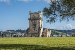 View of the Belem tower from the front gardens royalty free stock image