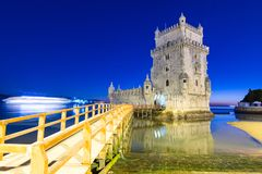View of Belem Tower, Lisbon, Portugal. View of Belem Tower by night, Lisbon, Portugal Royalty Free Stock Photos