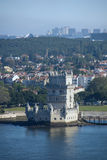 View of Belem Tower from the Tagus river, Lisbon, Portugal Stock Photo