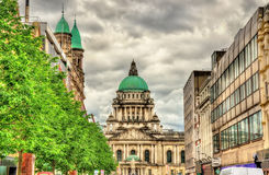 View of Belfast City Hall from Donegall Place Stock Images