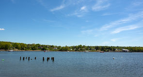 View of Belfast Maine harbor in the late spring Royalty Free Stock Image