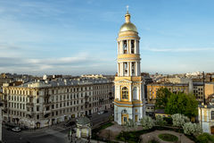 View on the belfry of the Vladimir Cathedral in St. Petersburg. Stock Photos