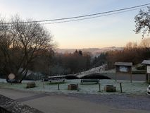 A view in the Belgian Ardennes. An icy view and a sunset in the Belgian Ardennes stock photos
