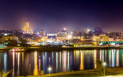 View of Belgrade downtown at night Stock Image