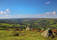 View from Bell Tor Dartmoor. Looking down through the valley over Widdecombe in the Moor Stock Photos