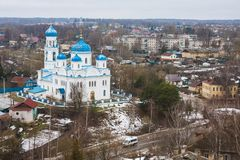 View from the bell tower of Borisoglebsky Monastery, Torzhok, Russia stock image