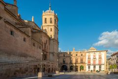 View at the Bell tower of Cathedral San Patrick in Lorca, Spain. View at the Bell tower of Cathedral San Patrick in Lorca - Spain Stock Photo