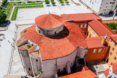 View from the bell tower of the church of St. Anastasia on Church of St. Donat and Forum in Zadar, Croatia Stock Photography