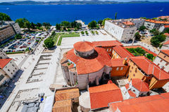 View from the bell tower of the church of St. Anastasia on Church of St. Donat and Forum in Zadar, Croatia Stock Photos