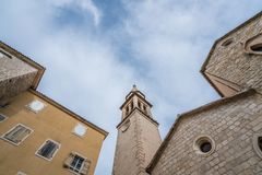 Church of St Ivan bell tower. View of bell tower of the Church of St Ivan, Budva, old town, Montenegro stock images