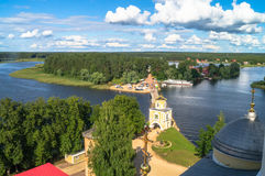 View from the bell tower of the Epiphany Cathedral in the direction of the dam and Svetlitskaya gate tower. Stock Image