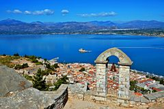 Greece-view of the bell tower in fortress Palamidi in town Nafplion Stock Photo