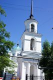 View of the bell tower in the glorious city of Kashin, Tver region Stock Photos