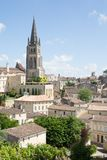 View of Saint Emilion village in Bordeaux region in France. View of the bell tower of the monolithic church in Saint Emilion, Bordeaux, France UNESCO World stock images