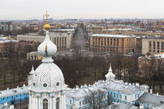 View from bell tower of the Smolny Cathedral on Suvorovsky Avenue in St. Petersburg Stock Photos