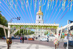 View of bell tower from St Michael Square. KIEV, UKRAINE - MAY 5, 2017: view of bell tower of Saint Sophia Cathedral from St Michael Mykhailivska  Square Stock Photos