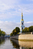 View of the bell tower of St. Nicholas naval Cathedral.Kryukov canal. Royalty Free Stock Photography