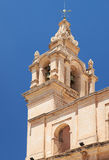 The view of the bell tower of St Paul`s Cathedral in Mdina Stock Image