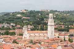 View from the bell tower Torre Dei Lamberti in Verona Royalty Free Stock Image