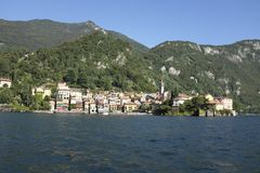 Panoramic view of Bellagio on Lake Como. View of Bellagio from across the water on the west branch of Lake Como Stock Photo