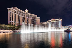 View of Bellagio and Caesars Palace hotels and casino at night with fountain's show, LAS VEGAS, USA Royalty Free Stock Photography