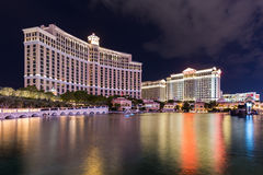 View of Bellagio and Caesars Palace hotels and casino at night, LAS VEGAS, USA Royalty Free Stock Image