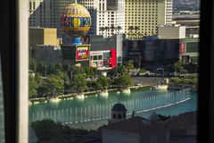 View on Bellagio Fountains from hotel room, Las Vegas Royalty Free Stock Images
