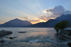 View from Bellano to lake Como and mountains at sunset Royalty Free Stock Photo