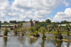 View from Belle Isle Pedestrian Bridge in Richmond, Virginia Royalty Free Stock Photography