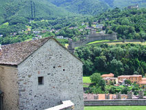 View of Bellinzona Castles in Switzerland Royalty Free Stock Photos