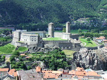 View of Bellinzona Castles in Switzerland. View from lthe middle to the lowest of three castles in Bellinzona in Switzerland stock photos