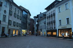 View of bellinzona's street. By night Royalty Free Stock Photos